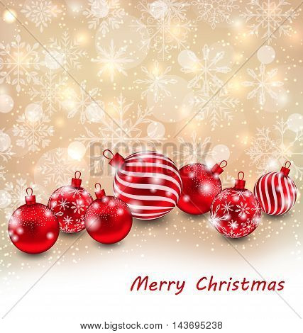 Illustration Christmas Abstract Shimmering Background with Red Balls, Shiny Wallpaper - Vector