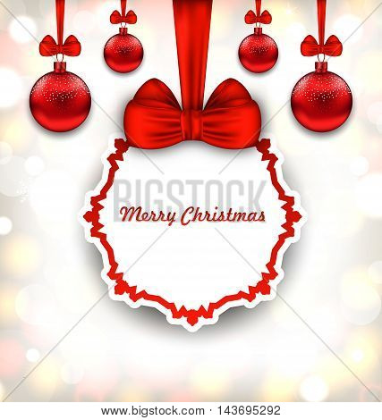 Illustration Merry Christmas Background with Celebration Card and Glass Balls - Vector