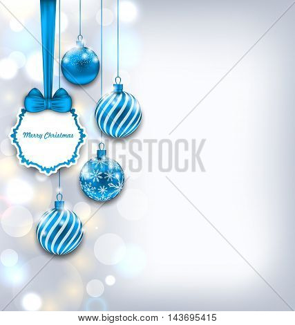 Illustration Magic Background with Celebration Card and Glass Balls for Merry Christmas - Vector