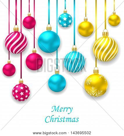 Illustration Elegant Postcard with Collection Colorful Christmas Glass Balls - Vector