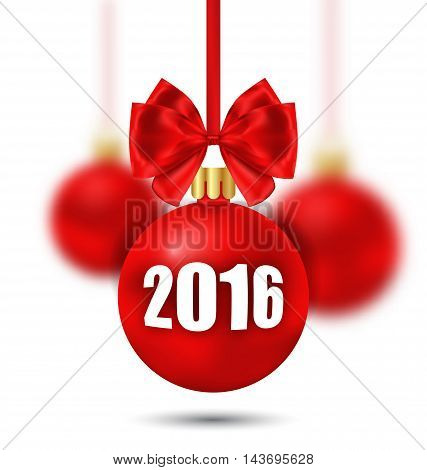 Illustration New Year Background with Christmas Balls and Bows - Vector