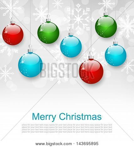 Illustration Christmas Snowflakes Background with Set Colorful Balls - Vector