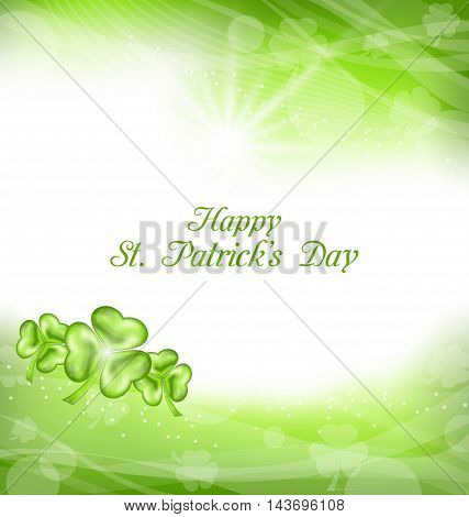 Illustration Abstract Light Background with Green clovers for St. Patrick Day - Vector