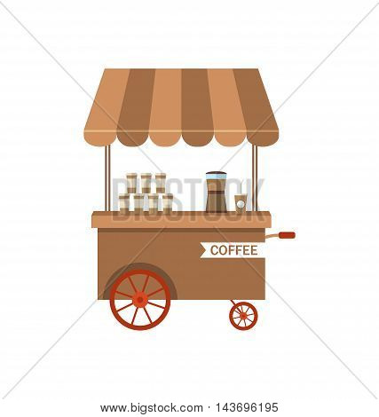 Illustration Flat Icon Cart of Coffee Isolated on White Background - Vector