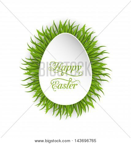 Illustration Happy Easter paper card in form egg with green grass - vector