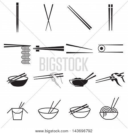 Chopsticks icons. Collection of black symbols isolated on a white background. Vector illustration