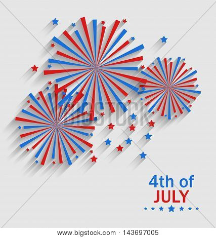 Illustration Firework Colorized in Flag US for Celebration Independence Day, Flat Style Long Shadow - Vector