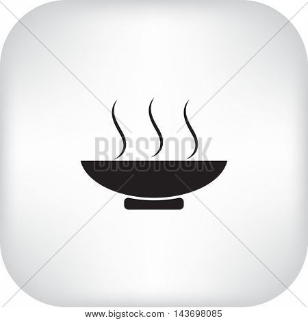 Flat icon. Hot lunch. Steaming bowl.