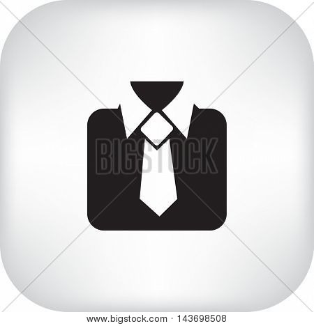 Flat icon. Men's suit with a tie.