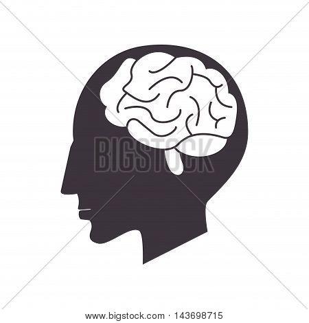 flat design human head and grain icon vector illustration