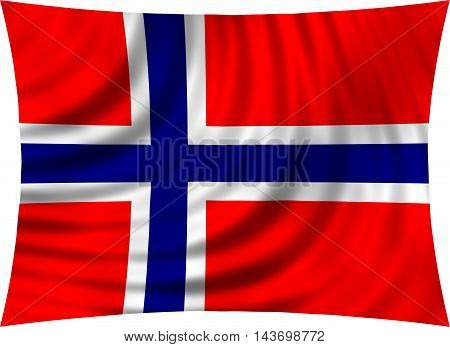 Flag of Norway waving in wind isolated on white background. Norwegian national flag. Patriotic symbolic design. 3d rendered illustration