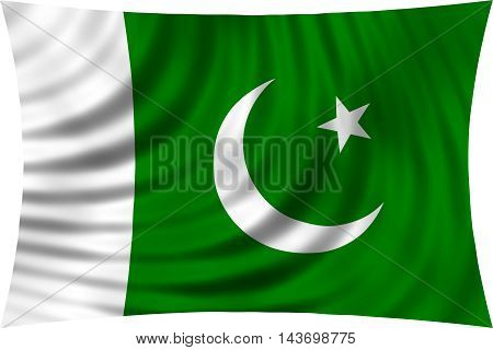 Flag of Pakistan waving in wind isolated on white background. Pakistani national flag. Patriotic symbolic design. 3d rendered illustration