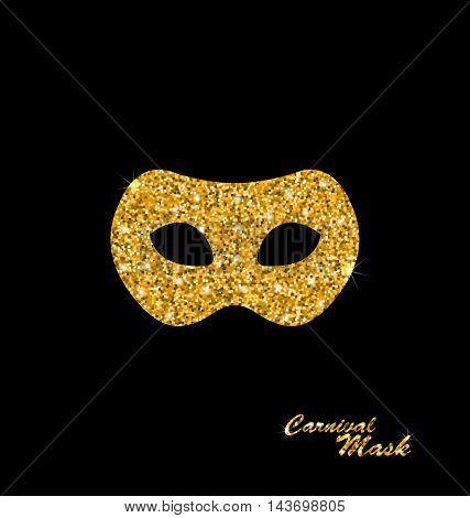 Illustration Golden Glittering Carnival or Theater Mask on Dark Background - Vector