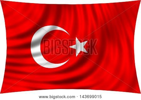 Flag of Turkey waving in wind isolated on white background. Turkish national flag. Patriotic symbolic design. 3d rendered illustration