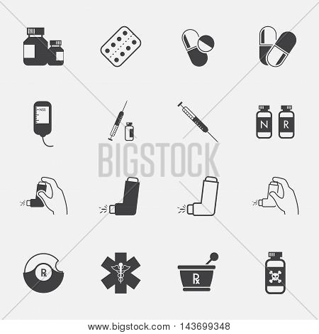 Pharmacy Icons and Medical Icons set. vector