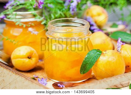 Jar of fresh delicious homemade apricot jam