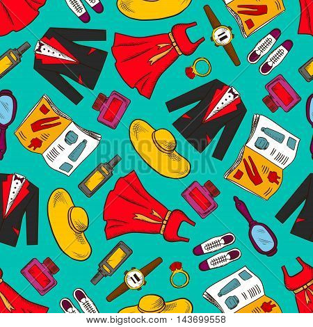Clothes seamless background. Vector wallpaper with pattern icons of man, woman wear, dress, suit, hat, shoes, mirror, magazine, ring, makeup watch parfum and trendy fashion accessories