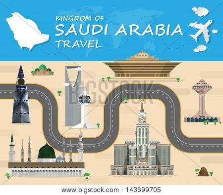 SAUDI ARABIA Landmark Global Travel And Journey Infographic Vector Design Template.vector illustration