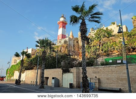 Old Lighthouse in the fishing port of Jaffa Israel