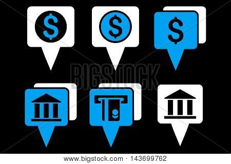Bank Map Pointers glyph icons. Pictogram style is bicolor blue and white flat icons with rounded angles on a black background.
