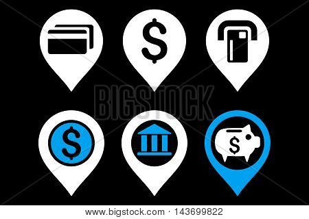 Banking Map Pointer glyph icons. Pictogram style is bicolor blue and white flat icons with rounded angles on a black background.