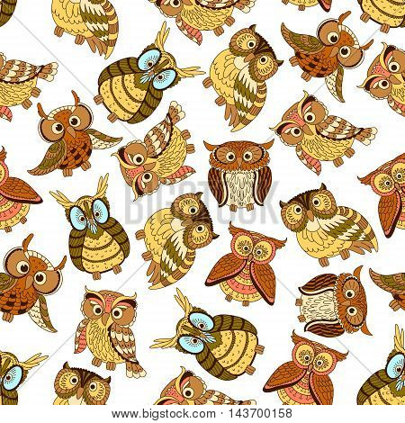 Owl seamless pattern background. Cute bird vector wallpaper. Vintage artistic cartoon owls