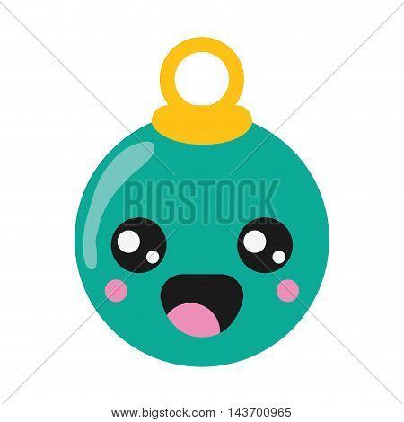 flat design kawaii christmas tree ball icon vector illustration