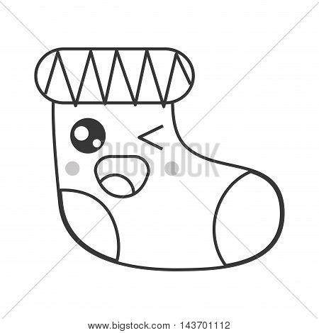 flat design kawaii christmas stocking icon vector illustration