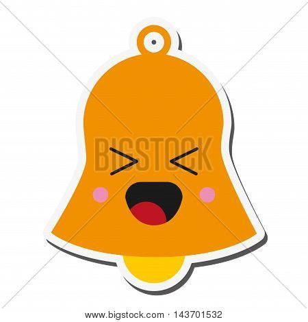 flat design kawaii bell icon vector illustration