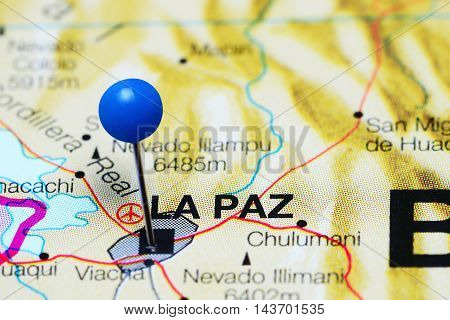 La Paz pinned on a map of Bolivia