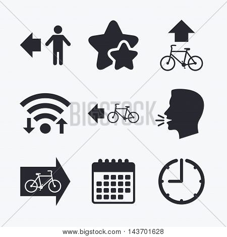 Pedestrian road icon. Bicycle path trail sign. Cycle path. Arrow symbol. Wifi internet, favorite stars, calendar and clock. Talking head. Vector