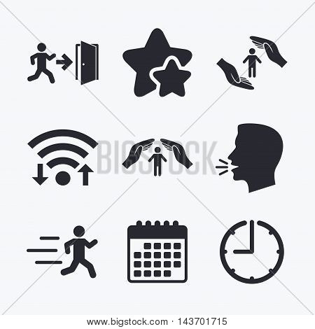 Life insurance hands protection icon. Human running symbol. Emergency exit with arrow sign. Wifi internet, favorite stars, calendar and clock. Talking head. Vector