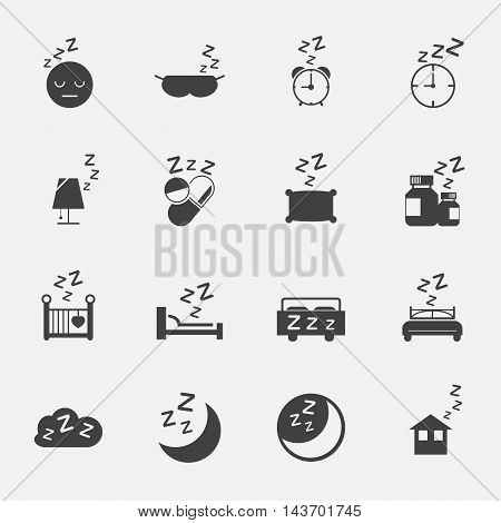 sleep sign and symbol icons set. vector