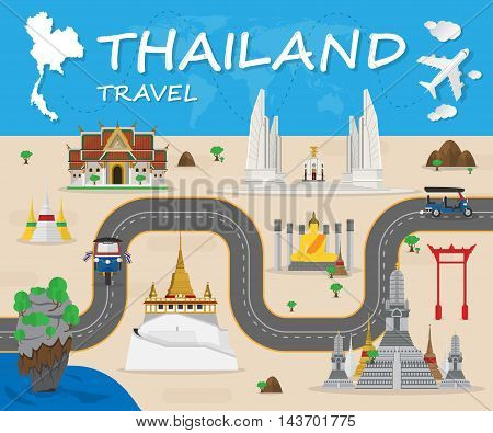 Thailand Landmark Global Travel And Journey Infographic Vector Design Template.vector illustration