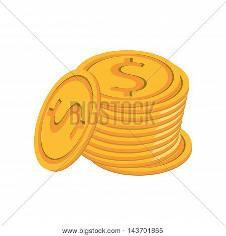 flat design dollar coin icon vector illustration