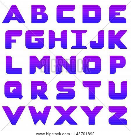 Alphabet in capital letters with purple gradient and horizontal shadows. Isolated. White background.