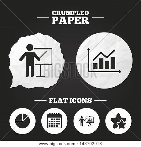 Crumpled paper speech bubble. Diagram graph Pie chart icon. Presentation billboard symbol. Supply and demand. Man standing with pointer. Paper button. Vector