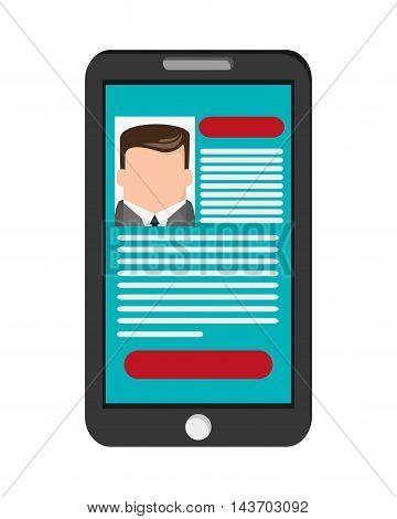 flat design curriculum vitae cv on cellphone screen icon vector illustration