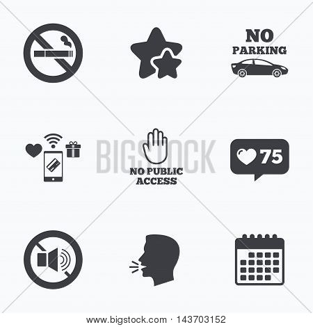Stop smoking and no sound signs. Private territory parking or public access. Cigarette and hand symbol. Flat talking head, calendar icons. Stars, like counter icons. Vector