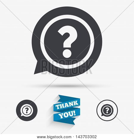 Question mark sign icon. Help speech bubble symbol. FAQ sign. Flat icons. Buttons with icons. Thank you ribbon. Vector