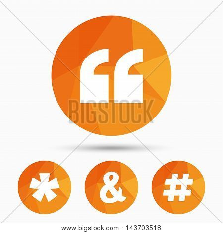 Quote, asterisk footnote icons. Hashtag social media and ampersand symbols. Programming logical operator AND sign. Triangular low poly buttons with shadow. Vector