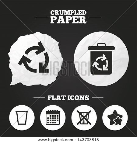 Crumpled paper speech bubble. Recycle bin icons. Reuse or reduce symbols. Trash can and recycling signs. Paper button. Vector