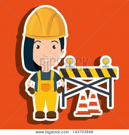 worker warning security tool vector illustration design
