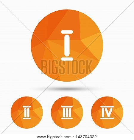 Roman numeral icons. 1, 2, 3 and 4 digit characters. Ancient Rome numeric system. Triangular low poly buttons with shadow. Vector