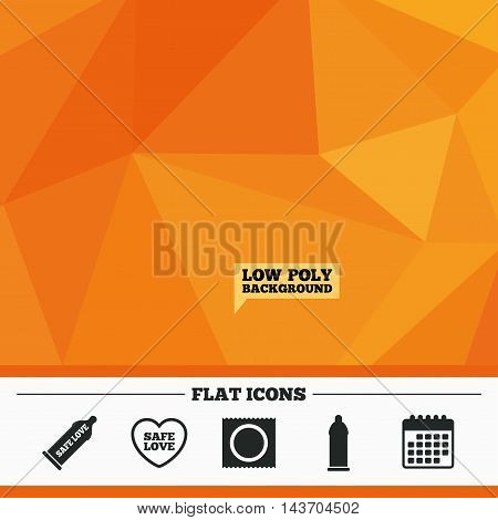 Triangular low poly orange background. Safe sex love icons. Condom in package symbol. Fertilization or insemination. Heart sign. Calendar flat icon. Vector