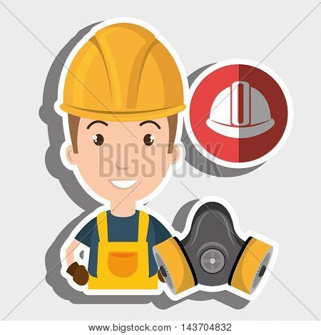 worker helmet mask gas vector illustration design