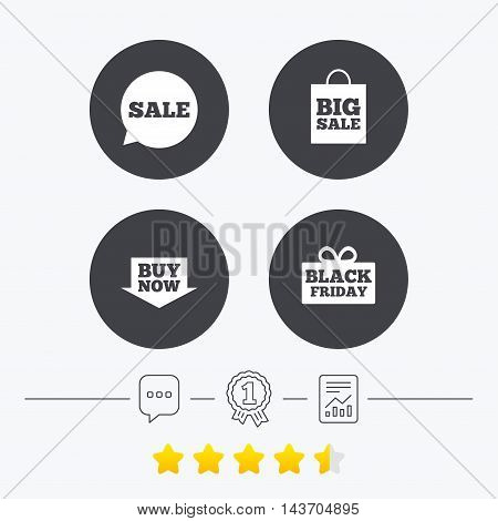 Sale speech bubble icons. Buy now arrow symbols. Black friday gift box signs. Big sale shopping bag. Chat, award medal and report linear icons. Star vote ranking. Vector