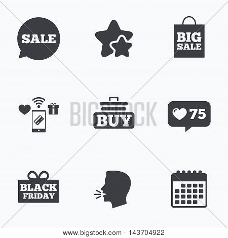 Sale speech bubble icons. Buy cart symbols. Black friday gift box signs. Big sale shopping bag. Flat talking head, calendar icons. Stars, like counter icons. Vector