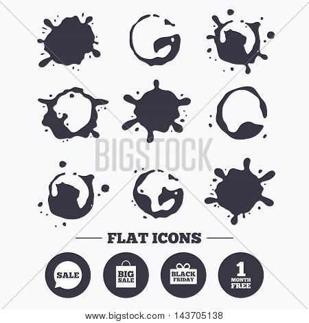 Paint, coffee or milk splash blots. Sale speech bubble icon. Black friday gift box symbol. Big sale shopping bag. First month free sign. Smudges splashes drops. Vector