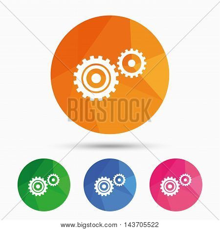 Cog settings sign icon. Cogwheel gear mechanism symbol. Triangular low poly button with flat icon. Vector